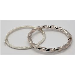 2-STERLING HINDGED BAGLE BRACELETS