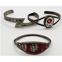 3-MEXICO STERLINIG CUFFS WITH INLAY DESIGNS
