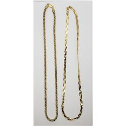 2-GOLD TONED STERLING NECKLACES (1)ROPE DESIGN