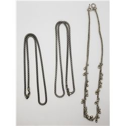 3-STERLING BOX CHAIN STYLE NECKLACES