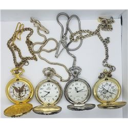 4-MODERN POCKET WATCHES (2) TRAIN DESIGN
