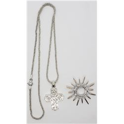 ITALY STERLING CHAIN W/ (2)PENDANTES