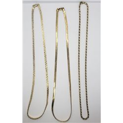 3-GOLD TONED STERLING NECKLACE/CHAINS