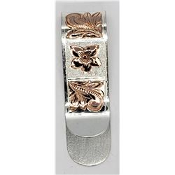 STERLING MONEY CLIP WITH ROSE GOLD TONED
