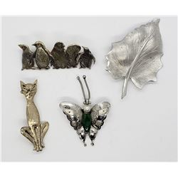 4-STERLING PIN/BROOCHES: (1)LEAF (1)BUFFTERFLY