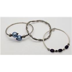3-STERLING BRACELETS: (1)TUBE BEADS (1)BLUE