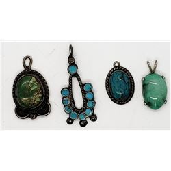 4-NAVAJO STERLING PENDATS ALL HAVE BLUE/GREEN