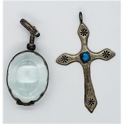 2-STERLING PENDANTS: (1)CROSS WITH TURQUOISE