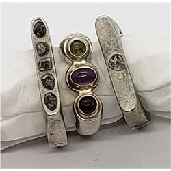3-UNIQUE STERLING RINGS WITH A SQUARE-LIKE