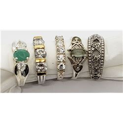 5-STERLING BLING RINGS WITH GREEN AND CLEAR