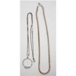 2-STERLING NECKLACES/CHAINS PLUS ONE CIRUCLAR