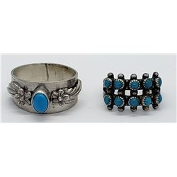 2-NAVAJO STERLING RINGS WITH TURQUOISE STONE
