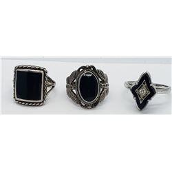 3-VINTAGE STERLING RINGS WITH BLACK ONYX