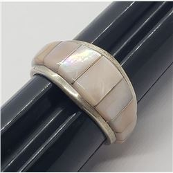 GORGEOUS!!! ZUNI MOTHER OF PEARL INLAY RING