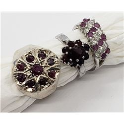 3-STERLING BLING RINGS WITH RUBY STONE ACCENTS!