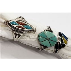3-ZUNI STERLING RINGS WITH INLAY DESIGNS