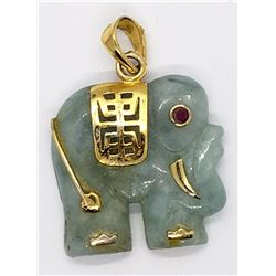 925 GOLD TONED CARVED JADE ELEPHANT ORIENTAL
