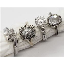 4-STERLING BLING RINGS WITH CLEAR STONES~~