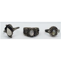 3-STERLING NATIVE AMERICAN RINGS WITH PINK