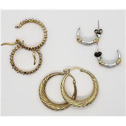 3-PAIRS OF GOLD TONED STERLING HOOP PIERCED