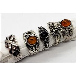 5-STERLING RINGS-BALTIC AMBER-BLACK ONYX