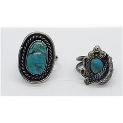 2-STERLING NATIVE AMERICAN RINGS WITH TURQUOISE