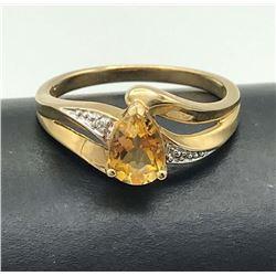 10K DIAMOND RING W ORANGE STONE SIZE 7