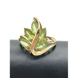 10K GOLD RING GREEN FLOWERS SIZE 8.5
