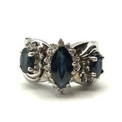 14K RING W BLUE STONES & ACCENT DIAMONDS