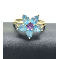 14K GOLD FLOWER RING BLUE & PURPLE SZ 7.5