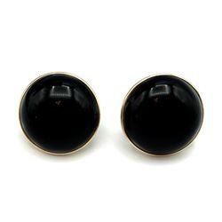 14K BLACK BUTTON EARRINGS