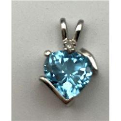 10K GOLD PENDANT BLUE STONE DIAMOND