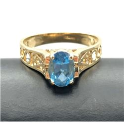 14K RING WITH BLUE STONE SIZE 5.5
