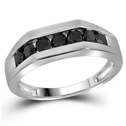 Mens Round Black Color Enhanced Diamond Wedding Band Ring 1 Cttw 10kt White Gold - REF-29W9K