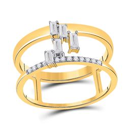 Womens Baguette Diamond Negative Space Fashion Ring 1/5 Cttw 14kt Yellow Gold - REF-32R5X