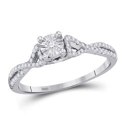 Womens Round Diamond Solitaire Promise Ring 1/4 Cttw 10kt White Gold - REF-15M5H