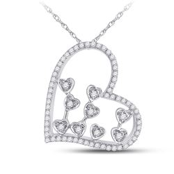 Womens Round Diamond Scattered Heart Pendant 1/3 Cttw 10kt White Gold - REF-21F5W