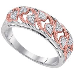 Womens Round Diamond 2-tone Rose Band Ring 1/10 Cttw 10kt White Gold - REF-14M9H