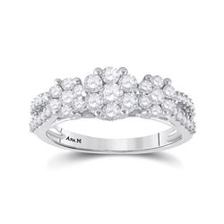 Womens Round Diamond Triple Flower Cluster Ring 1 Cttw 14kt White Gold - REF-76M5H