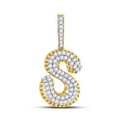 Mens Round Diamond S Letter Charm Pendant 1-1/3 Cttw 10kt Yellow Gold - REF-76M5H