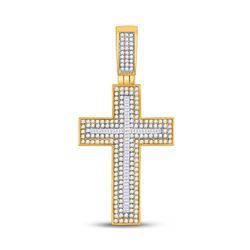 Mens Baguette Diamond Cross Charm Pendant 1-1/2 Cttw 10kt Yellow Gold - REF-65R5X