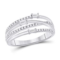Womens Baguette Diamond Crossover Fashion Ring 1/4 Cttw 14kt White Gold - REF-24X5A