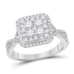 Round Diamond Cluster Bridal Wedding Engagement Ring 1 Cttw 14kt White Gold - REF-82A9M