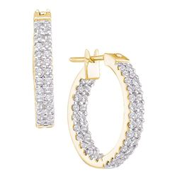 Womens Round Diamond Inside Outside Double Row Hoop Earrings 1 Cttw 14kt Yellow Gold - REF-69R9X