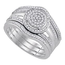 Round Diamond Bridal Wedding Ring Band Set 1/3 Cttw 10kt White Gold - REF-38H9R