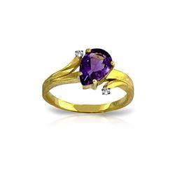 Genuine 1.51 ctw Amethyst & Diamond Ring 14KT Yellow Gold - REF-51V4W