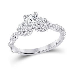 Round Diamond 3-stone Bridal Wedding Engagement Ring 1 Cttw 14kt White Gold - REF-232X5A