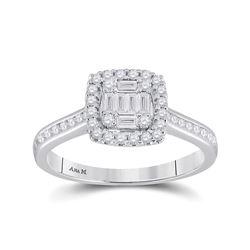 Baguette Diamond Cluster Bridal Wedding Engagement Ring 1/2 Cttw 14kt White Gold - REF-46N5F