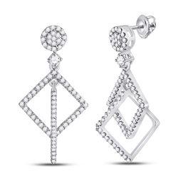 Womens Round Diamond Diagonal Square Dangle Earrings 3/8 Cttw 10kt White Gold - REF-24N9F