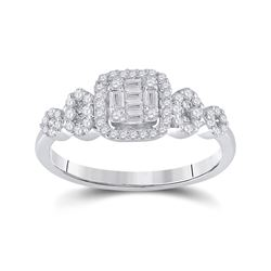 Womens Baguette Diamond Square Cluster Ring 1/2 Cttw 14kt White Gold - REF-41W9K